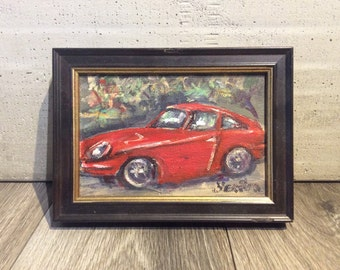 Red Car Painting Old Car Citroen Art Framed