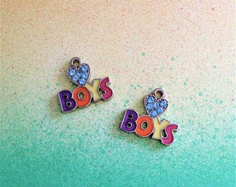 Enameled/Painted/Colored Love Boys with crystals Charms --4 pieces-(Nickel Plated)--style 988