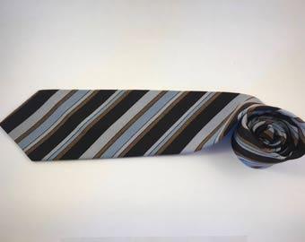 Vintage WEMLON retro striped black/brown/blue necktie