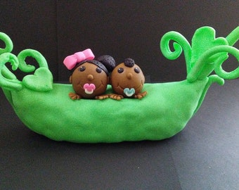 Peas in a Pod Edible Fondant Cake topper/ Cupcake toppers