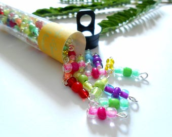 Transparent/Opaque 3Bead Glass Dangle Beads