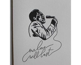 Otis Redding - Letterpress Love Card
