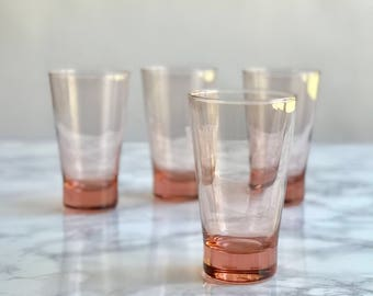 Pink Glassware / Blush Pink Glassware / Pink Glasses / Pink Glass Drinkware