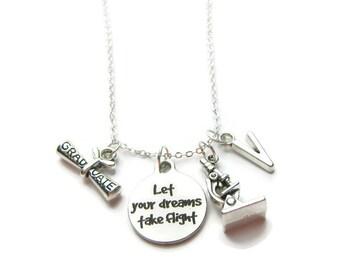 Scientist Graduation Necklace, Science Graduation Necklace, Microscope Necklace, Graduation Gift, Let Your Dreams Take Flight ,Personalized