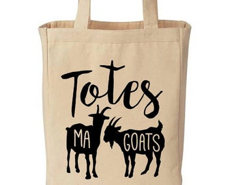 Totes Ma Goats Funny Cotton Canvas Tote - Eco Friendly Reusable Grocery Bag