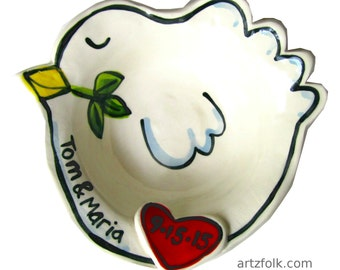 Handmade Pottery personalized Peaceful white Dove Wedding Gift Bowl with red heart date and names