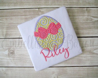 Swirled Easter Egg with Bow Appliqued Ruffle T-shirt or Onesie Bodysuit for Girls Personalized