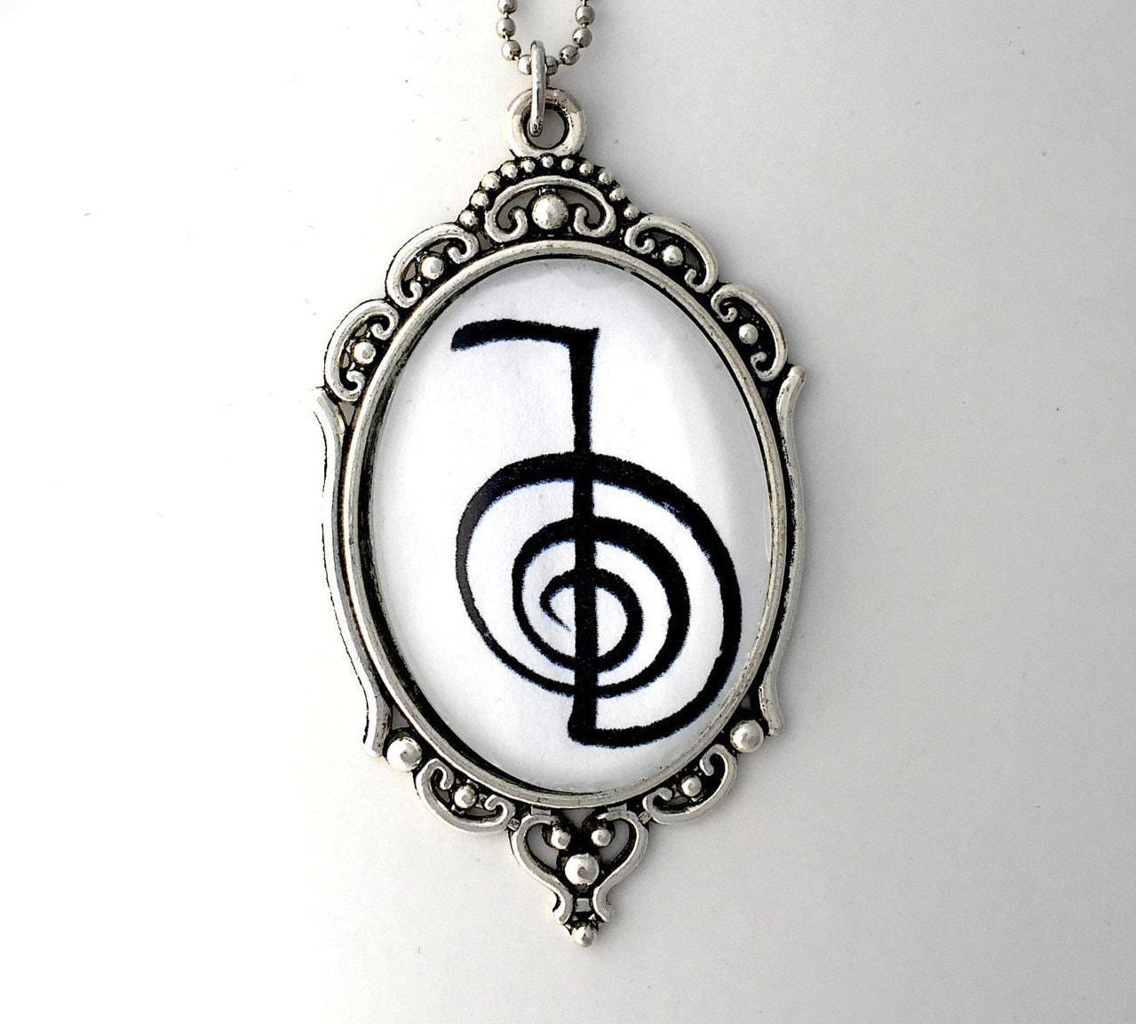Cho ku rei reiki symbol 2 sided pendant with reiki principles zoom biocorpaavc Gallery