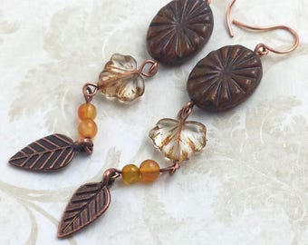 Double Leaf Design Earrings with  Maple Leaf and Copper Neutral Colors NE185