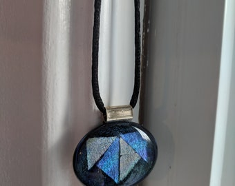 Blue and Silver Fused Glass Pendant