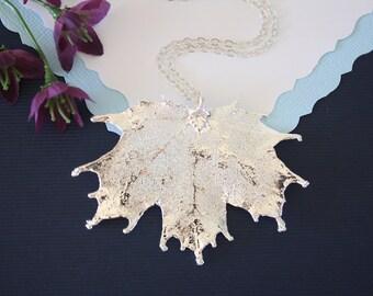 Real Sugar Maple Leaf, Real Silver Leaf, Maple Leaf Necklace, Canadian Leaf, Sterling Silver, LC79