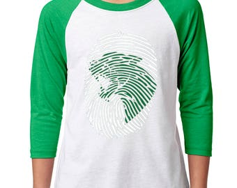 Youth Panther Print Raglan - School Spirit - Panthers - Unisex 3/4 Sleeve Green/White Baseball Tee
