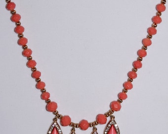 Springtime Collection/Coral Dangling Teardrop Medallions/Gold and Coral Combinations