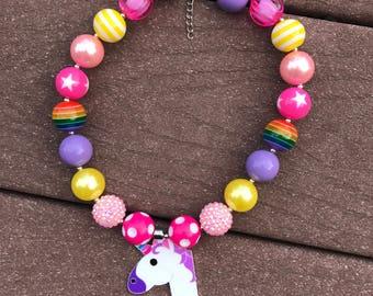 Unicorn necklace unicorn chunky bead bubble gum necklace unicorn birthday rainbow beads necklace unicorn first birthday unicorn necklace uni