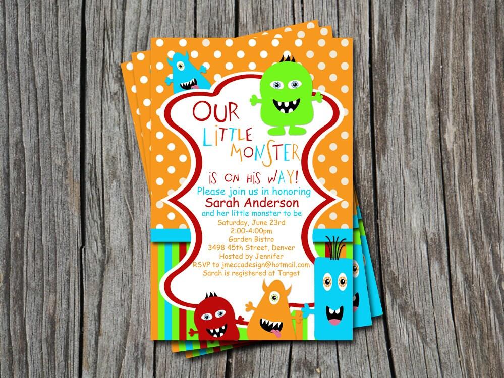 Little Monster Baby Shower or Sprinkle Invitation Card Any