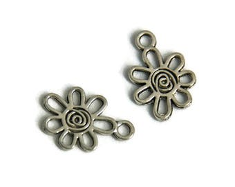 2 charms 17x12mm silver spiral flower