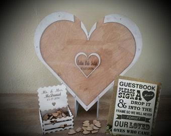 Alternative Guest Book,drop box guest book, wedding drop box, guest sign, heart guestbook, heart drop top guestbook, 120 Guest package