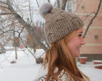 Knit Pom Pom Hat, Faux Fur Pom Pom Hat, Neutral knit hat, Faux Fur Pom, Chunky Knit Hat for girls, Wool Hat, Winter Hat for women