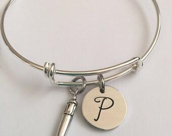 Italian horn with initial bracelet