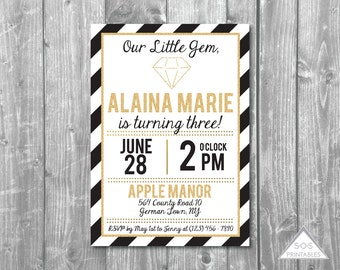 Gold Gem Invitation, Our Little Gem Invitation, Gem Birthday Party, Jewel Birthday, Black and Gold, Digital Invitation, Printable Invite