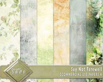 CU Commercial Use Background Papers set of 6 for Digital Scrapbooking or Craft projects Say Not Farewell Set A Designer Stock Papers