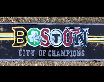 """Boston-City of Champions 36""""x12"""" Sign, College Graduation Gift, Wedding Gift, House Warming Gift"""