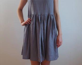 Gray Linen dress, Black linen dress, Black dress, Linen womens dress, Maternity dress, Medium size dress, Washed linen, Black