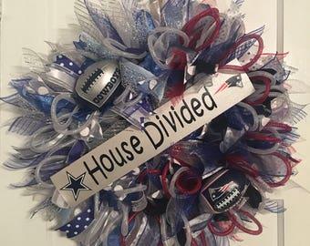 Cowboys/Patriots House Divided wreath