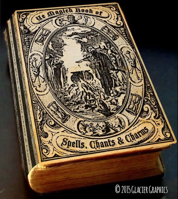 Witch Craft Book Cover : Vintage witch spell book cover halloween digital