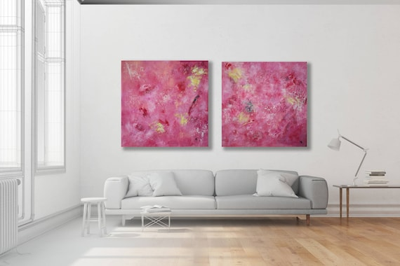 Extra Large Set of Colorful Paintings / Pair of Pink Abstract