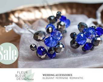 something blue for wedding | hair pins blue | wedding hair accessory | bridal jewelry set | bachelorette party | bridal party gift