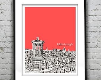 Edinburgh Poster Scotland  Print Art Calton Hill United Kingdom Version 3
