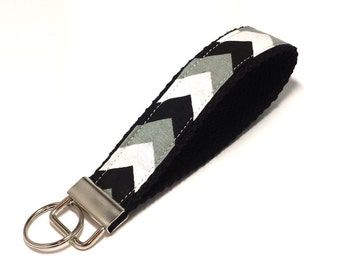 Chevron Key Fob - Key Lanyard - Wristlet Lanyard - Fabric Keychains - Wristlet Lanyard -- Chevron in Grays -- READY TO SHIP
