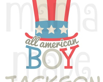 Boy's 4th of july shirt, boy's all american boy shirt, boy's 4th of july hat shirt, boys amerian boy shirt, boys patriotic shirt, july 4th