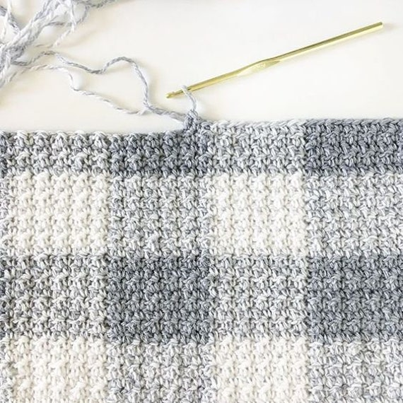 Crochet Grey Gingham Blanket Pattern