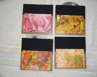Marbled CD Storage or photo storage, set of 4, unique gift