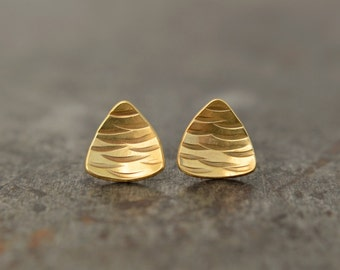 Curvilinear Triangle Gold Stud Earrings / Genuine 24k Gold Plated Over Sterling Silver / Hand Formed and Hammered Texture Earrings / Gift