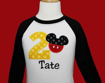 Embroidered Boys Mickey Mouse Birthday Shirt, Boys Second Birthday Shirt, I'm 2 Mickey Birthday Shirt, Custom, Any Age, Any Colors