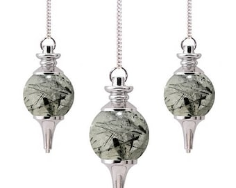 Tourmalated quartz sephoroton pendulum