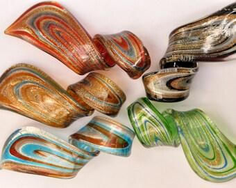 Multi Coloured Glass Twist Pendants Destash jewellery making