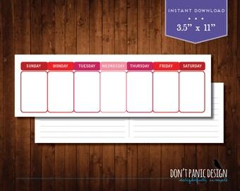 Printable Perpetual Weekly Calendar - Simple Modern Red Daily Calendar - Instant Download