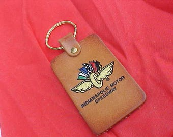 1970s 1980s Indianapolis Motor Speedway Vintage Genuine Leather Key Fob Excellent Condition Great Colorful Race Track Logo NASCAR Racing