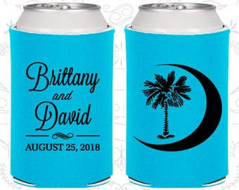 Palmetto Tree, Wedding, Crescent Moon, South Carolina Palmetto, Palmetto Moon, Palmetto Tree Moon, Beer Can Coolers (78)