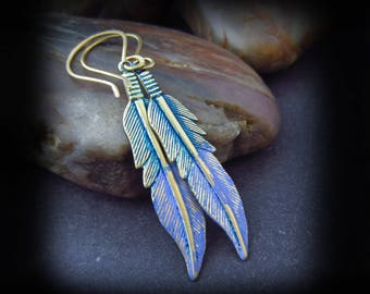 Patina Feather Earrings - Brass Earrings - Metalwork Earrings - Handmade Earrings - Blue and Lavender Patina Brass - Patina Feathers