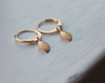Small Hoop Earrings, Gold Filled, Dangle Earrings, Hypoallergenic, Leaf Earrings Matte Gold Dangle Hoops Everyday Gold Jewelry Textured Gold