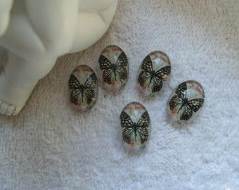 CABOCHONS OVALES PAPILLONS joli lot de 10 cabochons en verre ovales motif papillons 1.8 cm  pour supports bijoux