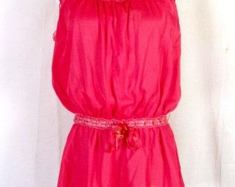 vtg 50s 60s Lady Love Red Lace Tie Off Waist Camisole Lingerie Top sz S