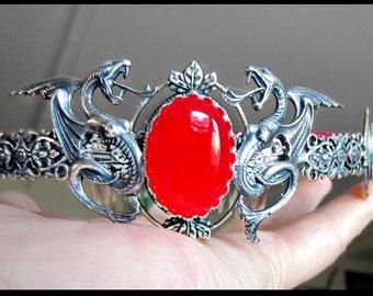 Dragon Crown, Red Jade Crown, Wedding Crown, Handfasting, Melusine, Queens Crown, Ren Fair, One of a Kind