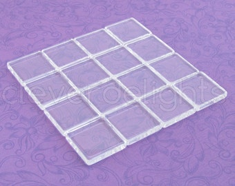 """40 Glass Tiles 7/8"""" 22.2mm - Square Tiles - Clear Flat Tiles -  For Photo Pendants Trays - 7/8 inch 22mm Tiles - 4mm Thick Glass Cabochon"""
