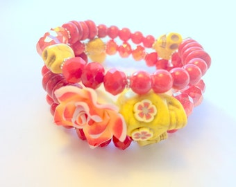 Day of the Dead Sugar Skull and Rose Memory Wire Bracelet in Red and Yellow